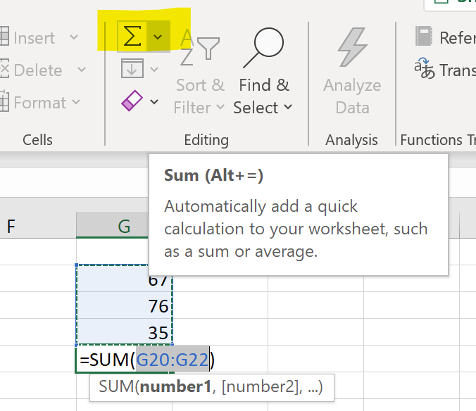 Add numbers in Excel