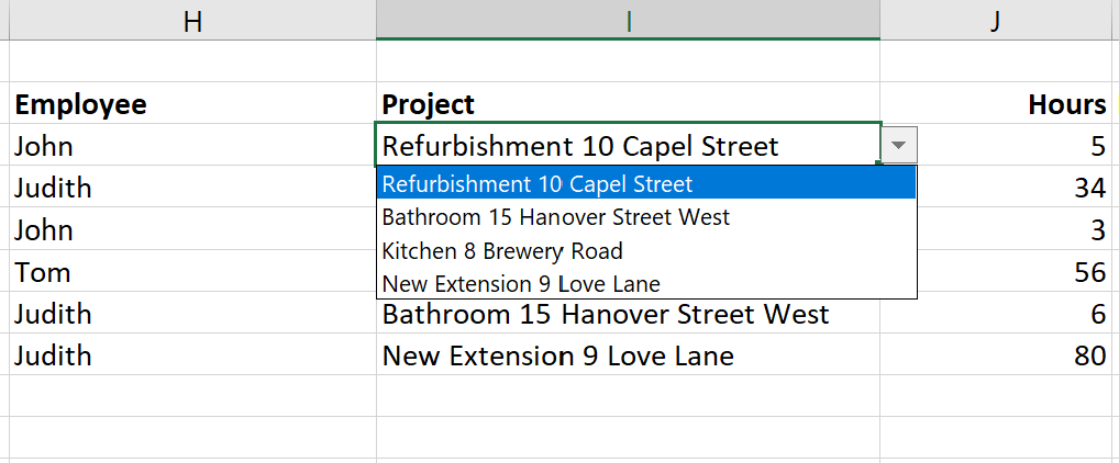 Create drop down list in Excel for time tracking, step 4