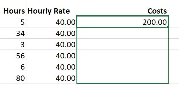 Drag a formula in Excel
