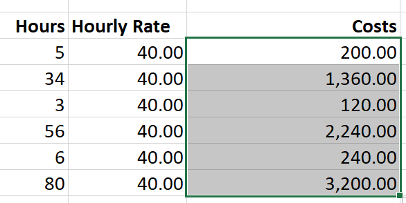 Drag formula accross rows in Excel