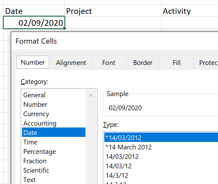Format date in Excel