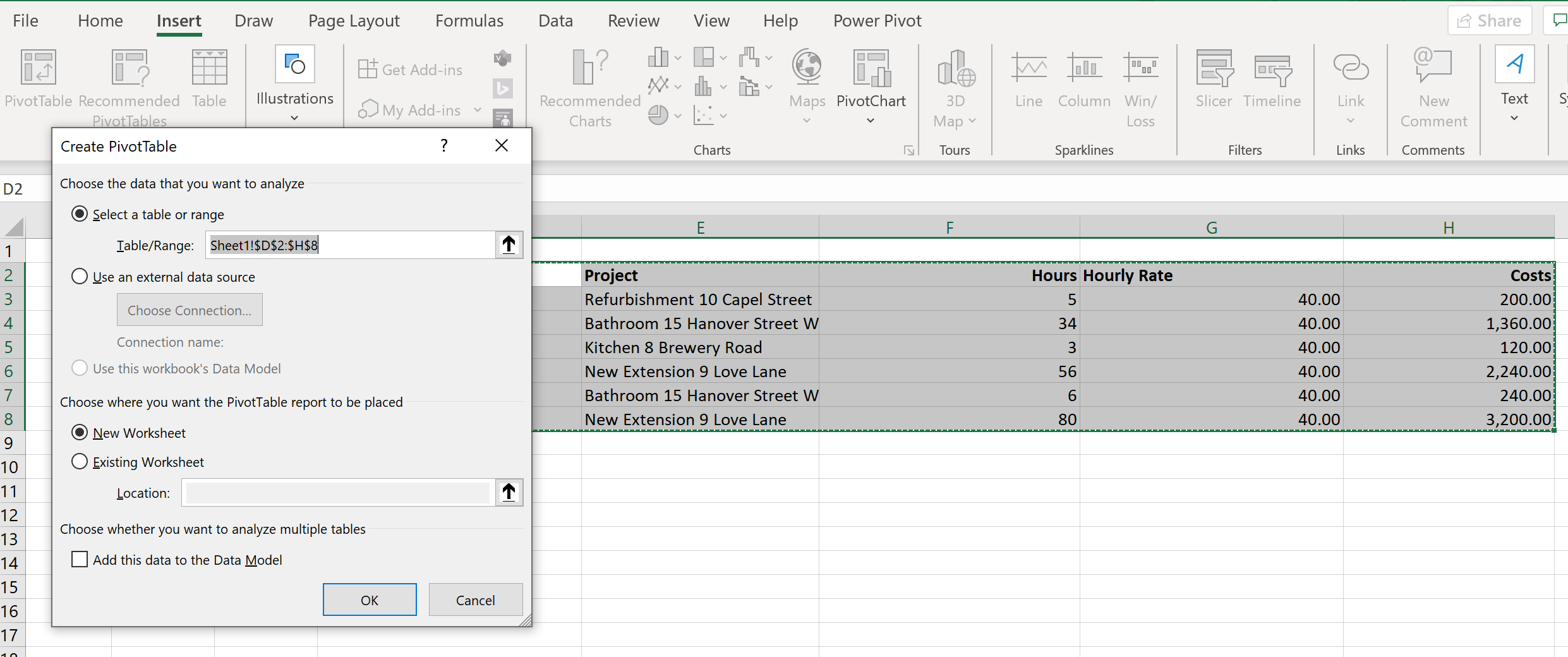Create pivot table in Excel for time tracking overview, step 1