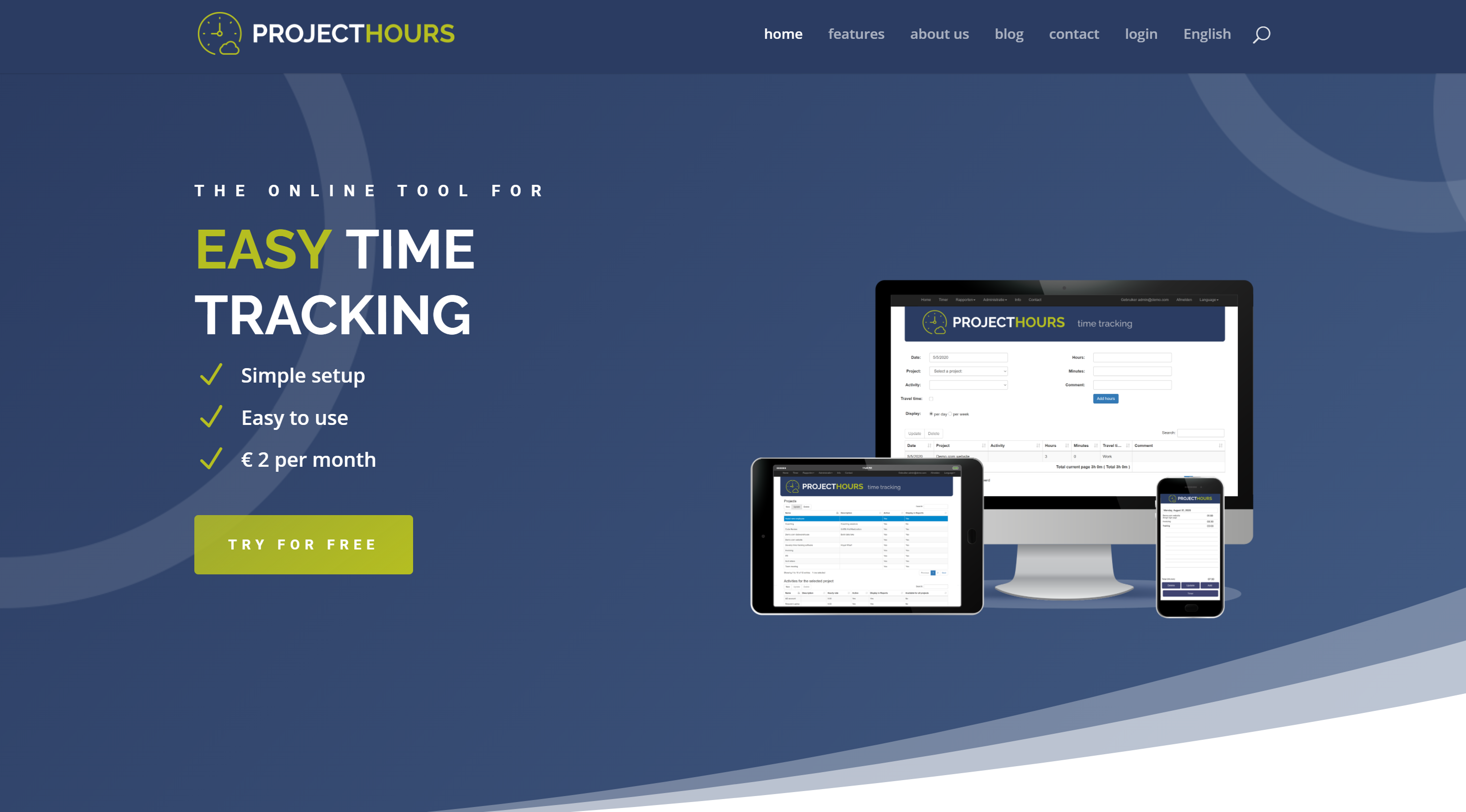 New website Project Hours Time Tracking